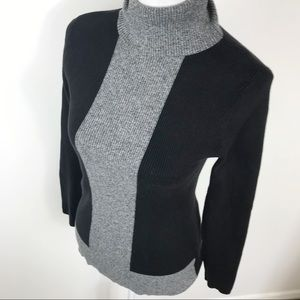 Style & Co Ribbed Knit Black Grey Turtleneck Top M